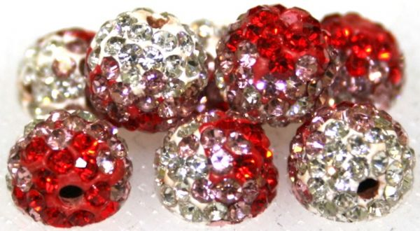 8mm Red Pink Clear 70 StonePave Crystal Beads- 2 Holes PCB08-70-040